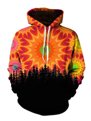 Men's red, orange & green mandala forest pullover hoodie front view.