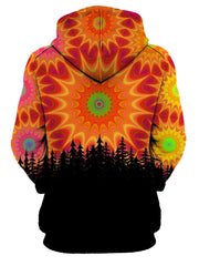 Rear of women's all over print red, orange & green sacred geometry hoody.