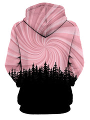 Rear of women's all over print pink & black vortex forest hoody.