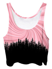 Trippy front view of GratefullyDyed Apparel pink & black vortex mandala forest crop top.