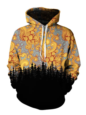 Men's orange, blue & black cloud swirl forest pullover hoodie front view.