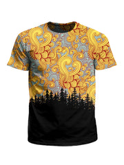 Men's orange, blue & black cloud swirl treeline unisex t-shirt front view.