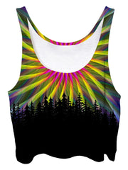 Trippy front view of GratefullyDyed Apparel light fractal mandala forest crop top.