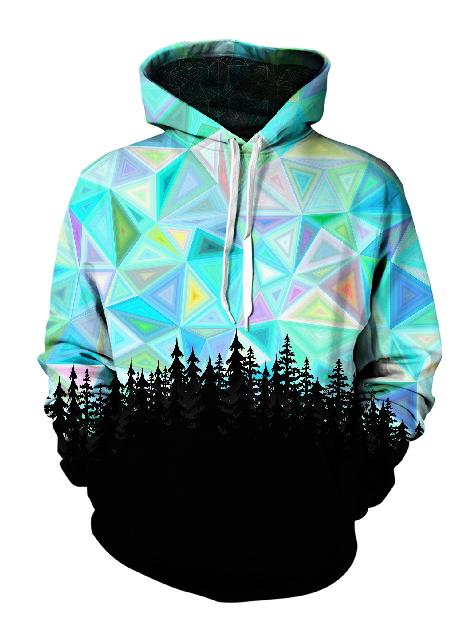 Men's blue, rainbow & black geometric forest pullover hoodie front view.