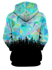 Rear of women's all over print blue, rainbow & black psychedelic sky forest hoody.