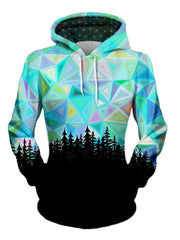 Women's front view of trippy treeline pullover hoodie.