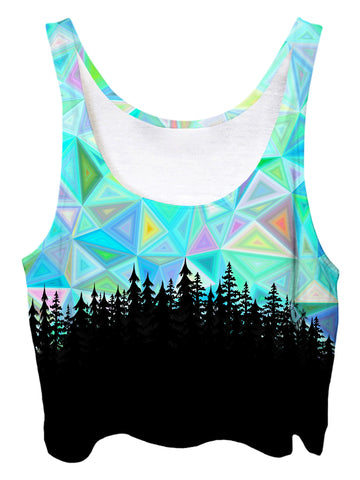 Trippy front view of GratefullyDyed Apparel blue geometry forest crop top.
