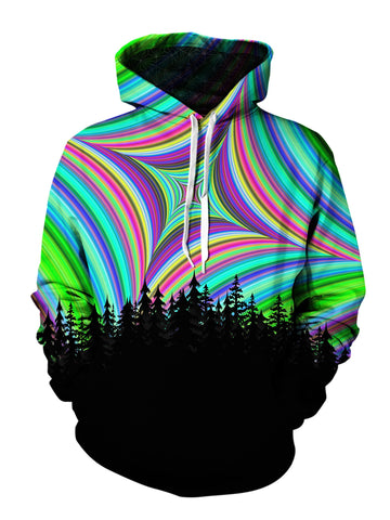 Men's green, blue, red & black geometric mandala forest pullover hoodie front view.