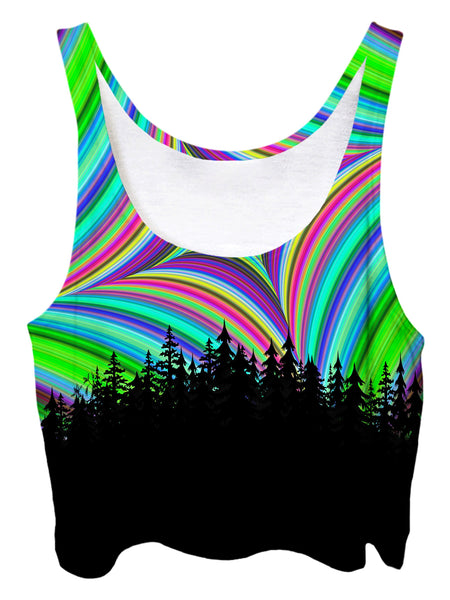 Trippy front view of GratefullyDyed Apparel green. blue, purple, red & black geometric mandala forest crop top.