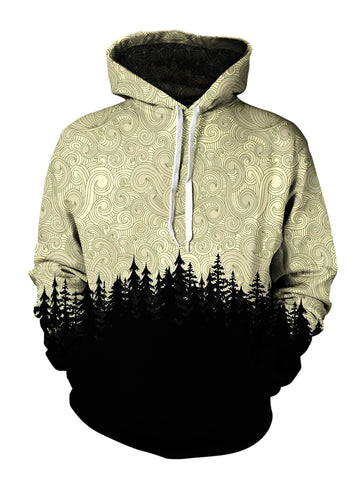 Men's brown & black cloud swirl forest pullover hoodie front view.