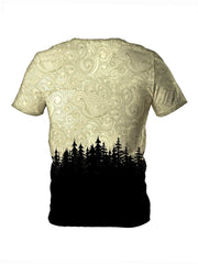 Back view of all over print psychedelic nature t shirt by Gratefully Dyed Apparel.