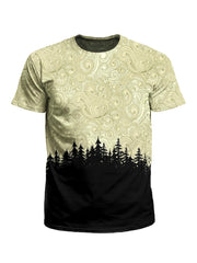 Men's brown & black pastel treeline unisex t-shirt front view.