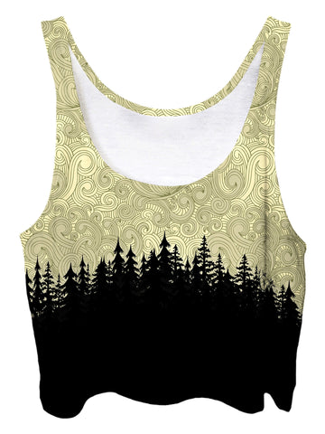 Trippy front view of GratefullyDyed Apparel yellow & black pastel cloud swirl forest crop top.