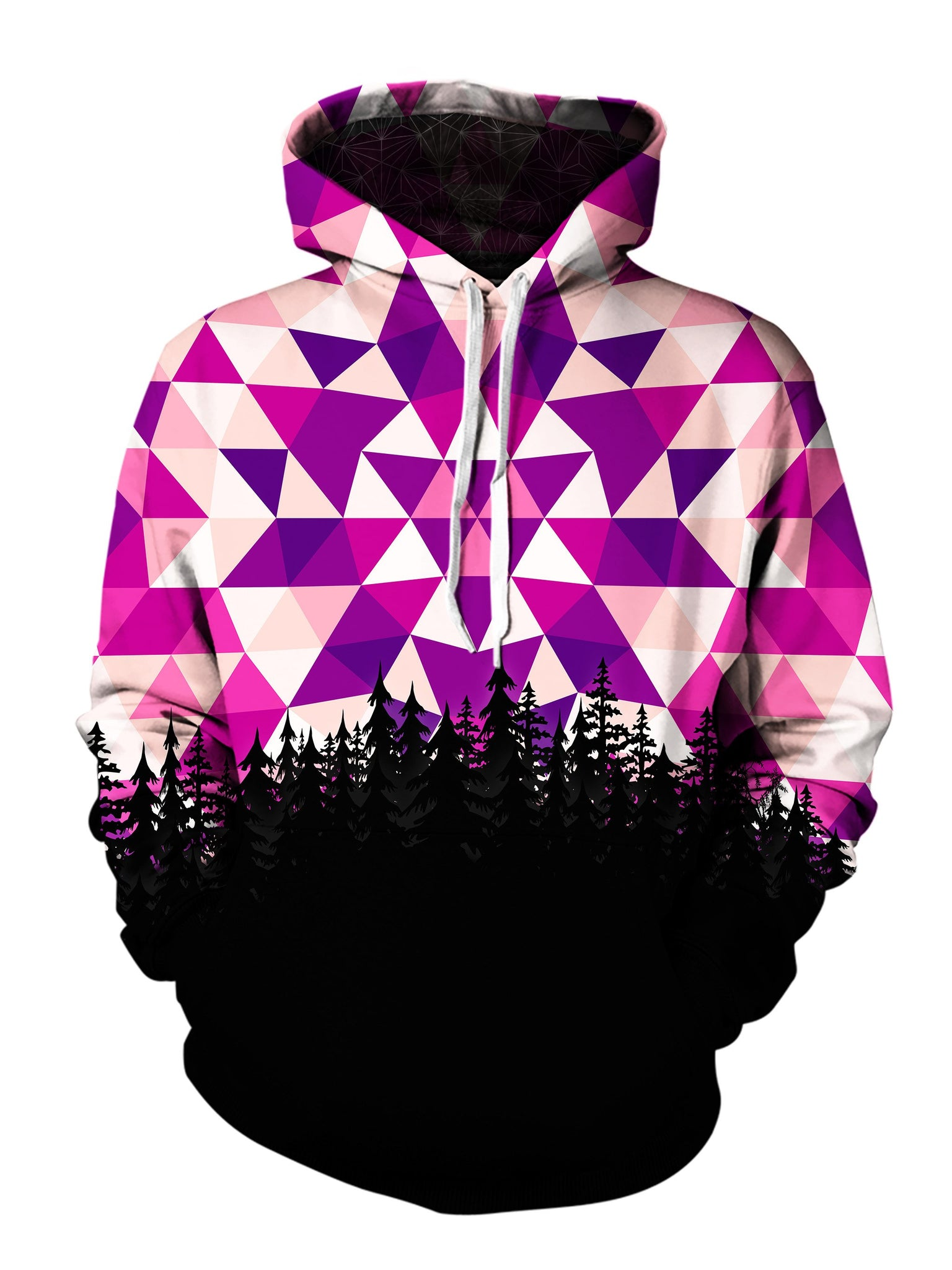 Men's pink, purple & black polygon mandala forest pullover hoodie front view.