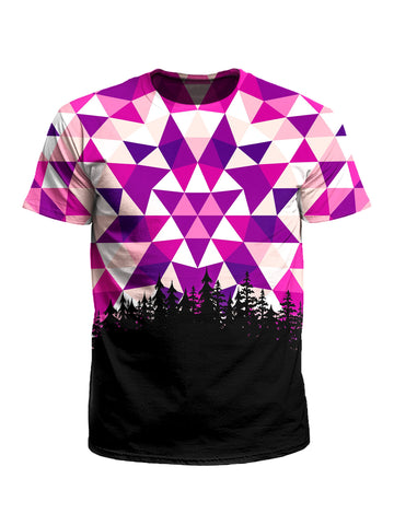 Men's pink, purple, white & black tribal treeline unisex t-shirt front view.