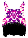 All over print psychedelic sacred geometry nature cropped top by Gratefully Dyed Apparel back view.