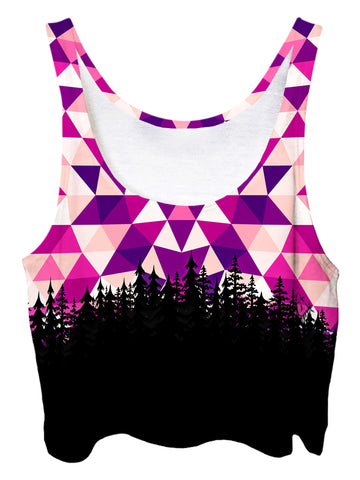 Trippy front view of GratefullyDyed Apparel pink, purple, white & black tribal mandala forest crop top.