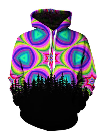Men's pink, purple, green, blue & black star mandala forest pullover hoodie front view.