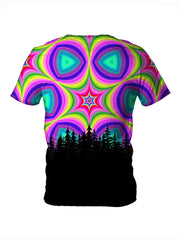 Back view of all over print psychedelic sacred geometry nature t shirt by Gratefully Dyed Apparel.