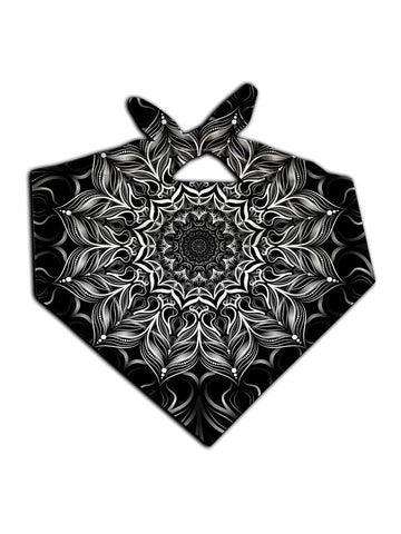 All over print black & white mandala bandana by GratefullyDyed Apparel tied neck scarf view.