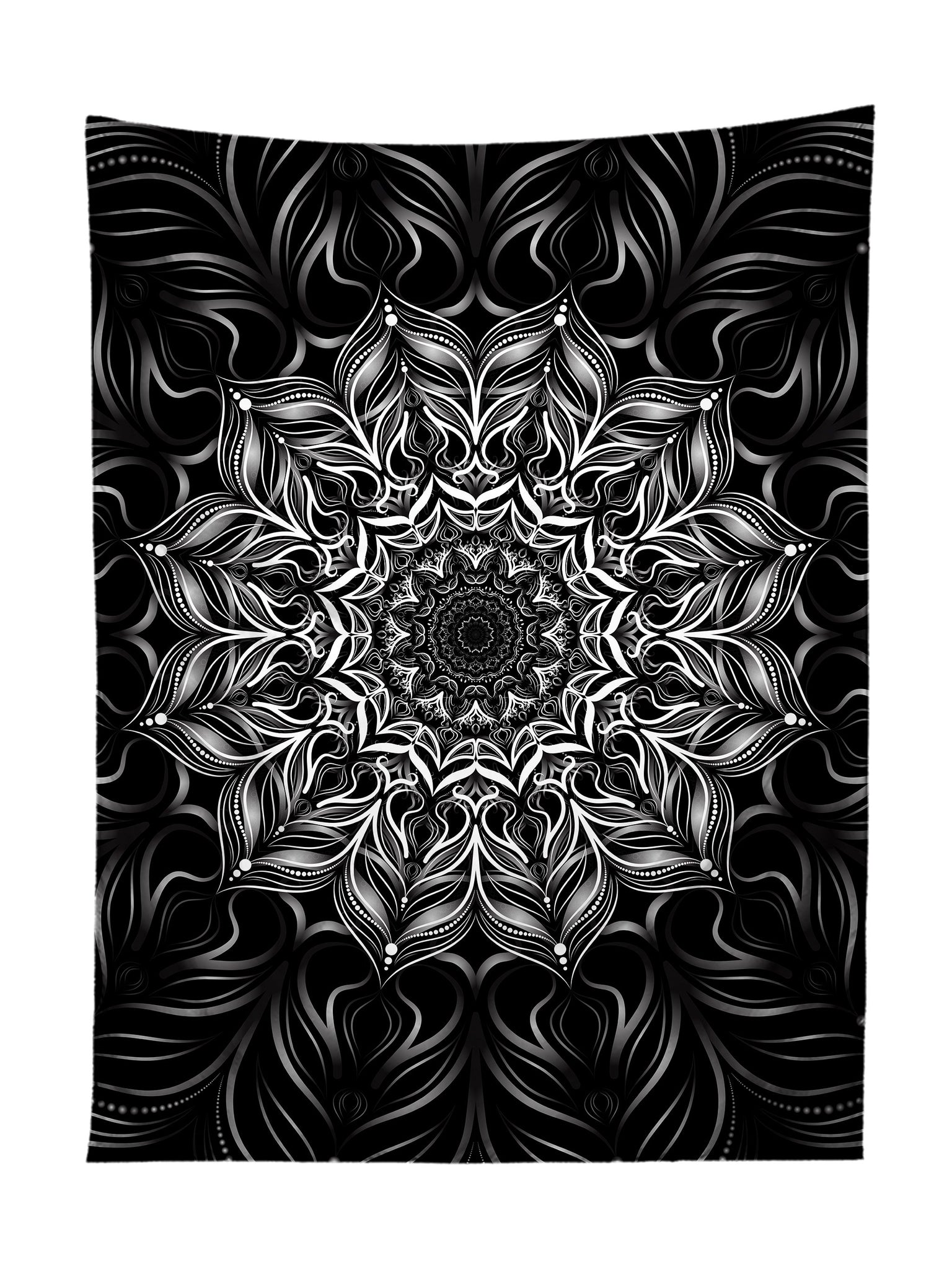 Vertical hanging view of all over print black & white mandala tapestry by GratefullyDyed Apparel.