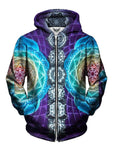 Colorful Trippy Zip Up Hoodie All Over Print