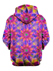 Psychedelic kaleidoscope pink and purple pullover hoodie back view