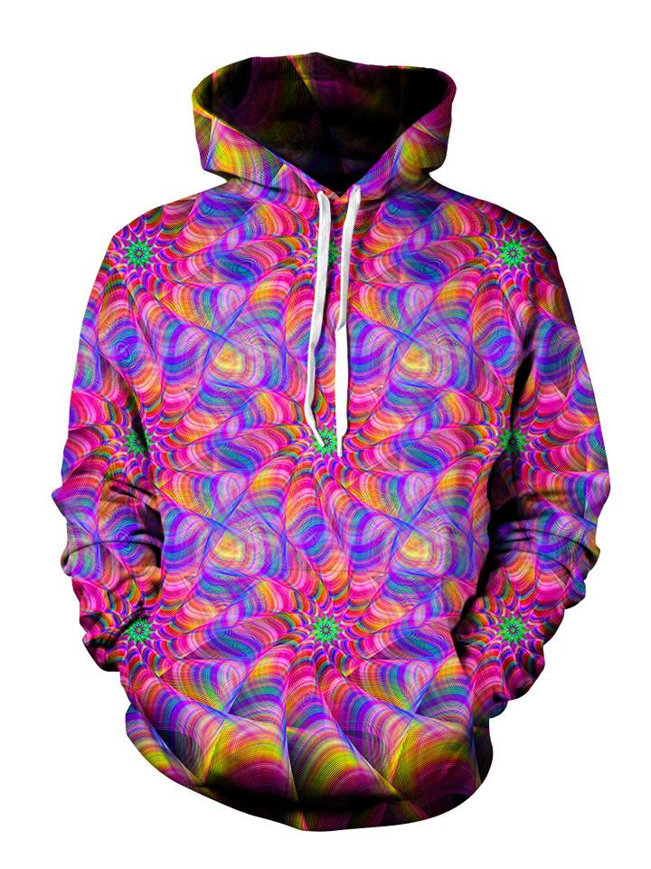 Psychedelic kaleidoscope pink and purple pullover hoodie with white strings, front view