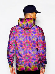 Model in psychedelic kaleidoscope pink and purple pullover hoodie back view