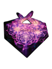 Sparkly purple flower on black bandana tied