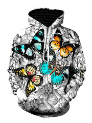Trippy Colorful Butterfly Pullover Hoodie Front View