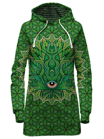 Green stoner leaf hoodie dress