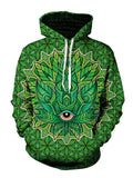 Psychedelic Green Leaf Pullover Hoodie Front View