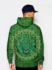Model In Psychedelic Green Leaf Pullover Hoodie Back View