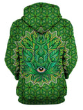 Psychedelic Green Leaf Pullover Hoodie Womens Back View