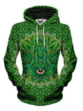 Psychedelic Green Leaf Pullover Hoodie Womens Front View