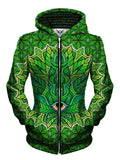 Green stoner leaf zip up hoodie all over print front view, womens