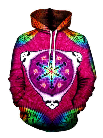 Kaleidoscope grateful dead steely all over print pullover hoodie front view