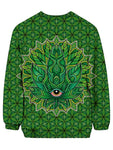 Trippy Green Leaf Crew Neck Sweater Back View