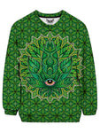 Trippy Green Leaf Crew Neck Sweater Front View