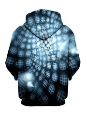 Black and Blue Honeycombs Pullover Hoodie Back View