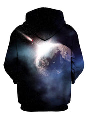 Meteor impact space pullover hoodie back view