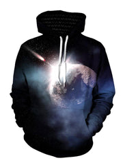 Meteor impact space pullover hoodie front view