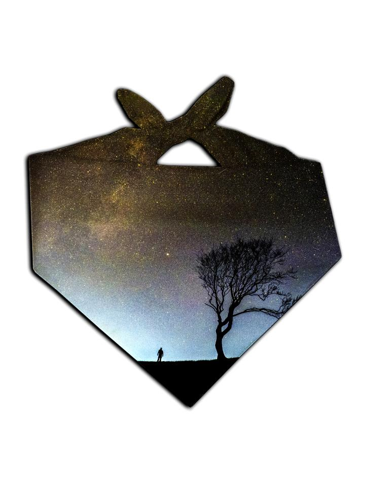 Silhouette of man and tree in space all over print bandana