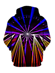 Neon Lights Show On Black Pullover Hoodie Back View