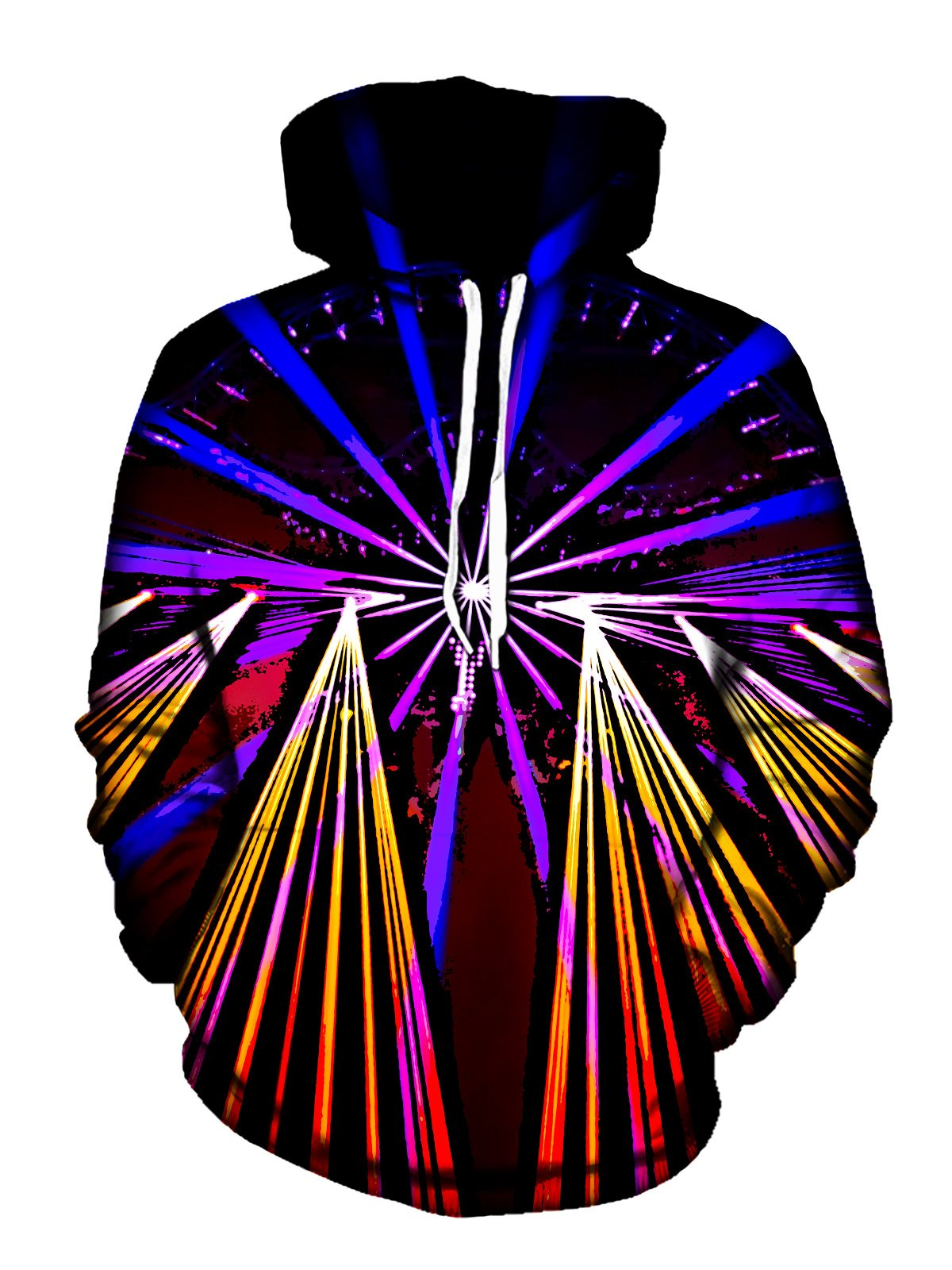 Neon Lights On Black Pullover Hoodie Front View With White Strings