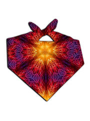 Bright red and yellow mandala kaleidoscope all over print bandana