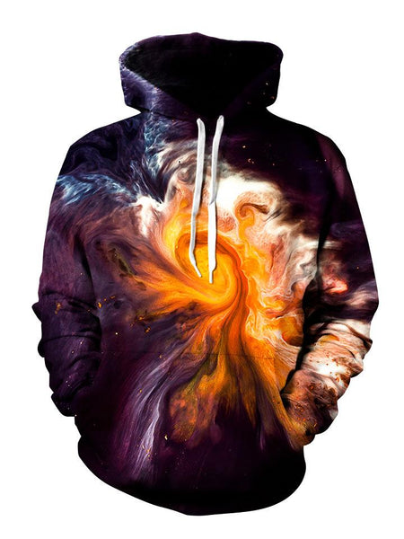Orange and red swirl on black pullover hoodie front view