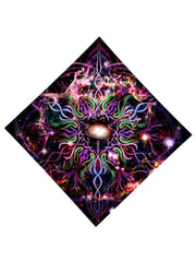 Psychedelic multi colored all over print bandana flat view