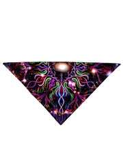Psychedelic multi colored all over print bandana folded